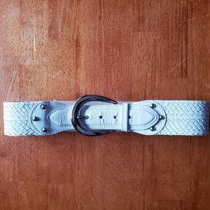 Michael Kors S  bone thick braided leather belt